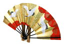 金色の空を舞う吉祥の鳥 9寸飾扇セット 三羽鶴 (竹台付き)【あす楽】