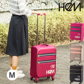 HeM(ヘム) スーツケース キャリーケース M リーベ ジッパー 中型 TSAロック 超軽量4輪スーツケース キャリーバッグ 旅行かばん【送料無料】   10P18Jun16 【d0904】