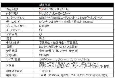 バイク用ナビ5.0型タッチパネル最新年度2019年るるぶ3年間地図更新無料防水ポータブルBluetoothMicroSD日本語マニュアルバイクナビ