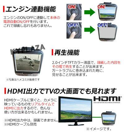 世界最小クラス高画質小型ドライブレコーダーWDRGセンサー搭載HDMI出力動体感知自動録画対応日本製マニュアル付属1年保証ドラレコドライブレコーダ送料無料