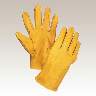 大丸中皮革手套 (公牛顶和黄色) 10 双移民 100 Y。