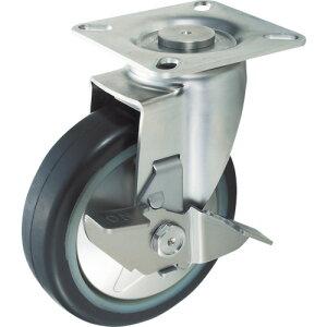 TRUSCO プレス製省音キャスター ゴム車輪・ステンレス金具 自在S付Φ100 TXSJB-100