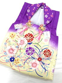 【しゃれっこ】三歳被布コート 七五三 お祝着 日本製 ポリエステル 紫×クリーム ボカシ 桜