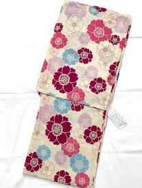 【華かづら】女性浴衣 仕立上がり フリー 綿麻 ベージュ 桜