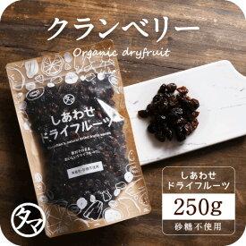 【送料無料】ドライ クランベリー(250g/カナダ産)有機栽培のクランベリーを使用。ポリフェノールが豊富で健康と美容に嬉しい栄養たっぷり|ドライフルーツ 砂糖不使用 くらんべりー ジャム ジュース 果物 スイーツ フルーツ 小分け cranberry