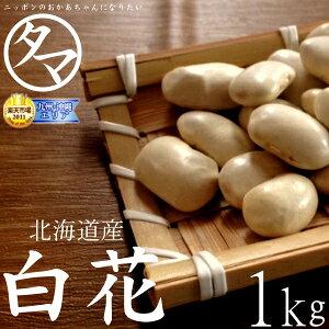 """【送料無料】北海道産 白花豆 1kg北の大地で育まれた白い輝き!豆の女王""""白花豆""""ホックホクの食感で上質な甘さのある豆です。無添加・遺伝子組み換えなし 国産 白花豆Made in japan natural Wh"""