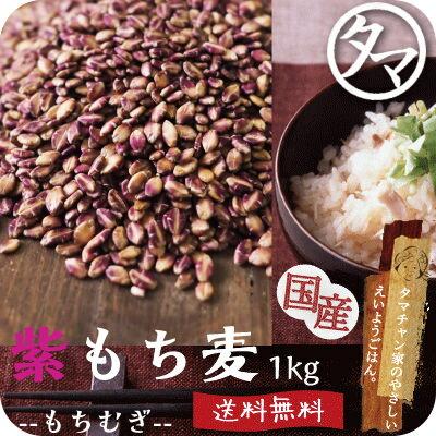 レア食材!【送料無料】超希少な紫もち麦1kg(福岡県産/29年度産)紫が濃い状態で収穫したもち麦です。もち麦に比べてポリフェノールの1種、アントシアニジンを多く含み水分量が多く、より一層もちもちぷちぷちの食感|国産もち麦 無添加 もちむぎ 健康食品 美容