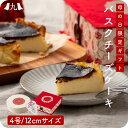 【送料無料】母の日 ギフト 化粧箱付き 真っ黒 バスクチーズケーキ 4号(約12cm/カーネーション柄箱・メッセージカー…