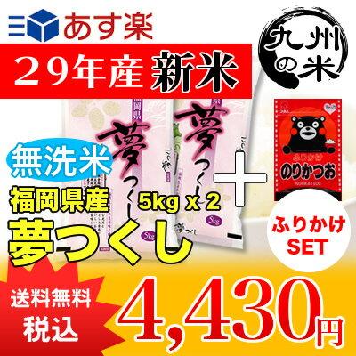 (送料無料)(29年産新米)ふりかけセット 【無洗米】福岡県産夢つくし5kg×2袋 【10kg】