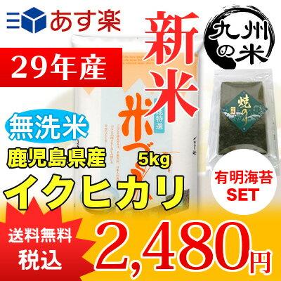 (送料無料)(29年産新米)有明海苔セット【無洗米】 鹿児島県産イクヒカリ 5kg