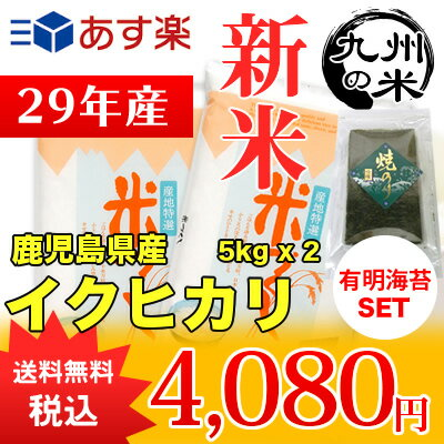 (送料無料)(29年産新米)有明海苔セット 鹿児島県産イクヒカリ5kg×2袋 【10kg】