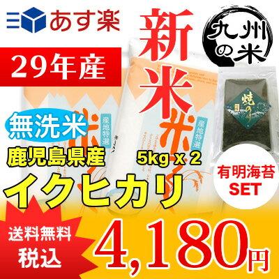 (送料無料)(29年産新米)有明海苔セット【無洗米】 鹿児島県産イクヒカリ5kg×2袋 【10kg】