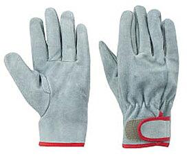 東和コーポレーション 革手袋 No463 牛床革手袋 オイル加工マジック付 フリー グレー 12双組 作業用革手袋
