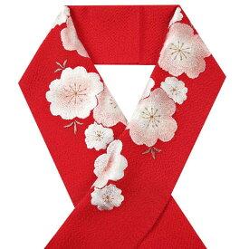 【送料無料】半衿 振袖 着物 おしゃれ 半襟 刺繍 赤色 桜柄 正絹 シルク【メール便不可】