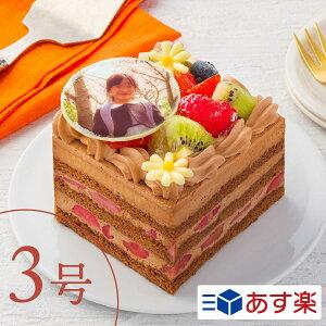 """写真ケーキ キャラ印刷OK!1人でも楽しめるチョコレートケーキ """"フルーツいっぱいチョコケーキ""""【1〜2人向け】3号ケーキ プリントケーキ キャラクターケーキ 推し 1人用 2人用 メッセージ 鬼"""