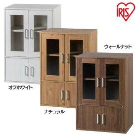 食器棚 幅60 ガラスキャビネット GKN-9060 オフホワイト・ナチュラル・ウォールナット 送料無料 木目調 食器棚 キッチン家具 台所 アイリスオーヤマ