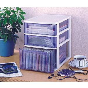 【チェスト オフィス 書類整理棚 レターケース 3段】《組立不要》 クリアテーブルチェスト TQ-A421 ホワイト/クリアブルーアイリスオーヤマ(収納BOX・・ プラスチック・押入れ収納・封筒、