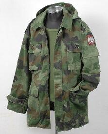 セルビア、4ポケット、フード付き、ワッペン、カモジャケット(USED)470UHW−4PKT