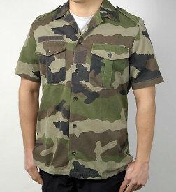 フランス、半袖カモ、ファティーグシャツ(USED)F14U-
