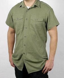 訳あり、イギリス、OD.半袖フィールドシャツ(USED)B26SUD- *