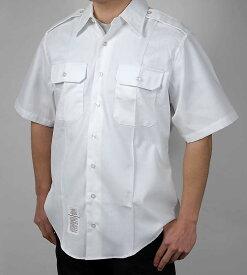 US.NAVY、ホワイト、半袖ドレスシャツ(新品)A61SN-