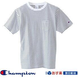 【2019SS新作!】チャンピオン Champion ベーシック ボーダー ポケット Tシャツ 2019SS ポケT ストライプ柄Tシャツ C3-P304 White ホワイト