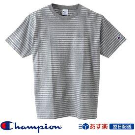 【2019SS新作!】チャンピオン Champion ベーシック ボーダー ポケット Tシャツ 2019SS ポケT ストライプ柄Tシャツ C3-P304 Grey グレー