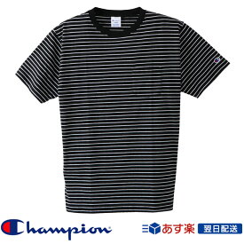 【2019SS新作!】チャンピオン Champion ベーシック ボーダー ポケット Tシャツ 2019SS ポケT ストライプ柄Tシャツ C3-P304 Black ブラック
