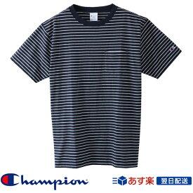 【2019SS新作!】チャンピオン Champion ベーシック ボーダー ポケット Tシャツ 2019SS ポケT ストライプ柄Tシャツ C3-P304 Navy ネイビー