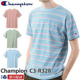 チャンピオン Champion チャンピオンロゴ刺繍入り Tシャツ 2020SS キャンパス ボーダー柄Tシャツ C3-R328【3色】ペールブルー ピンク他