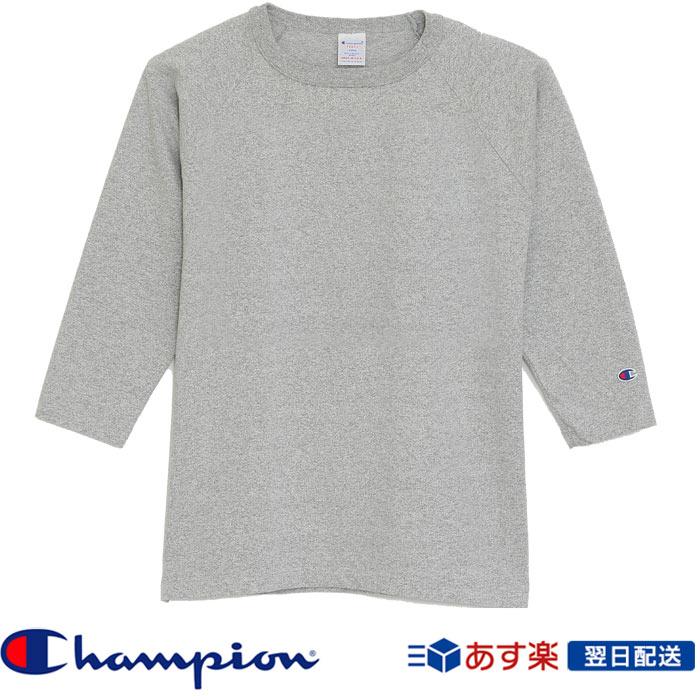 【2018FW新作】チャンピオン Champion T1011(ティーテンイレブン) ラグラン3/4スリーブ【7分袖】Tシャツ (C5-U401) グレー Grey