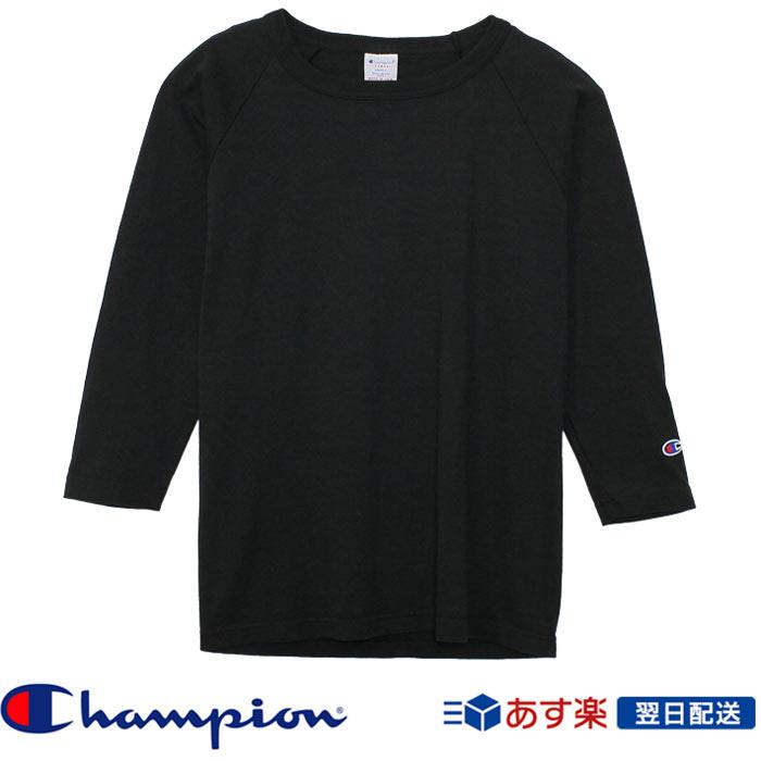 【2018FW新作】チャンピオン Champion T1011(ティーテンイレブン) ラグラン3/4スリーブ【7分袖】Tシャツ (C5-U401) ブラック Black
