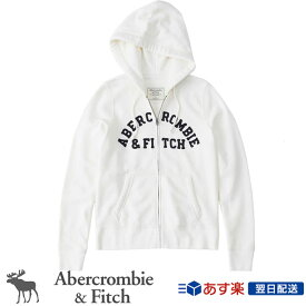 【2019FW新作】アバクロンビー&フィッチ 正規品 アバクロ Abercrombie&Fitch レディース ジップアップパーカー Logo Full Zip Hoodie ホワイト White