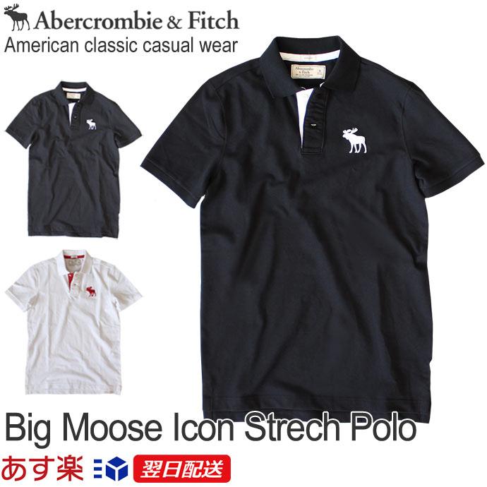 【2019年新入荷!】アバクロンビー&フィッチ 正規品 アバクロ Abercrombie&Fitch メンズ ストレッチ カノコ ビックアイコン ポロシャツ:A&F Big Moose Icon Strech Polo - White│Black│ホワイト│ブラック【US限定モデル】