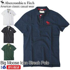【新入荷!】アバクロンビー&フィッチ 正規品 アバクロ Abercrombie&Fitch メンズ ストレッチ カノコ ビックアイコン ポロシャツ:A&F Big Moose Icon Strech Polo - ホワイト│ブラック│グレー他【US限定モデル】