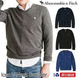【新作!】アバクロンビー&フィッチ 正規品 アバクロ Abercrombie&Fitch メンズ Vネックセーター ニット:Icon V-Neck Sweater【4色】ネイビー│グレー│ブラック他