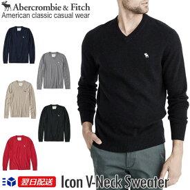 【新作!】アバクロンビー&フィッチ 正規品 アバクロ Abercrombie&Fitch メンズ Vネックセーター ニット:Icon V-Neck Sweater【5色】グレー│ネイビー│ブラック│オートミール│レッド【US限定モデル】