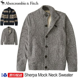 【2019FW新作!】アバクロンビー&フィッチ 正規 アバクロ Abercrombie&Fitch メンズ ニット ジャケットカーディガン Sherpa Mock Neck Cardigan Sweater グレー Grey