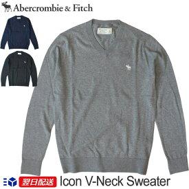 【新作!】アバクロ Abercrombie&Fitch アバクロンビー&フィッチ Vネックセーター Icon V-Neck Sweater 《3色》グレー│ブラック他【US限定モデル】