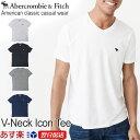 【2018新作】アバクロンビー&フィッチ 正規品 アバクロ Abercrombie&Fitch メンズ Tシャツ 無地Tシャツ ロゴ入り Vネック:V-Neck Icon Tee - ホワイト│グレー
