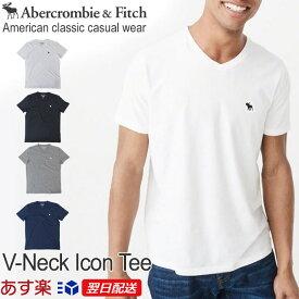 【再入荷!】アバクロンビー&フィッチ 正規品 アバクロ Abercrombie&Fitch メンズ Tシャツ 定番 無地Tシャツ ロゴ入り Vネック:V-Neck Icon Tee - ホワイト│グレー│ブラック│ネイビー【US限定モデル】