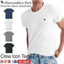 【2018新作】アバクロンビー&フィッチ 正規品 アバクロ Abercrombie&Fitch メンズ Tシャツ 無地Tシャツ ロゴ入り:Crew Icon Tee - ホワイト│グレー│ネイビー│ブ