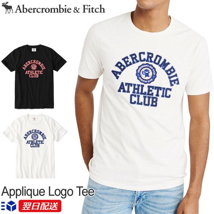 【2019SS新作!】アバクロンビー&フィッチ 正規品 アバクロ Abercrombie&Fitch メンズ Tシャツ Applique Logo Tee Off オフホワイト│ブラック│White│Black