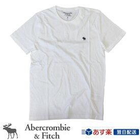 【2019年新入荷!】アバクロンビー&フィッチ 正規品 アバクロ Abercrombie&Fitch メンズ Tシャツ 無地Tシャツ ロゴ入り:Muscle Fit Crew Tee - White│ホワイト