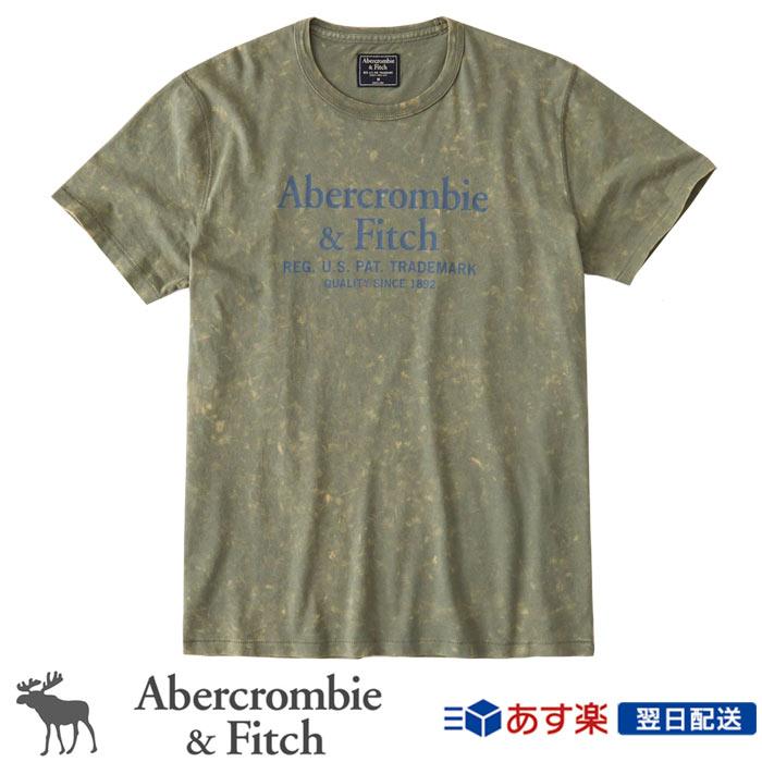 【2018年新作!】アバクロンビー&フィッチ 正規品 アバクロ Abercrombie&Fitch メンズ Tシャツ:Logo Tee Green Dye Effect グリーンダイ加工