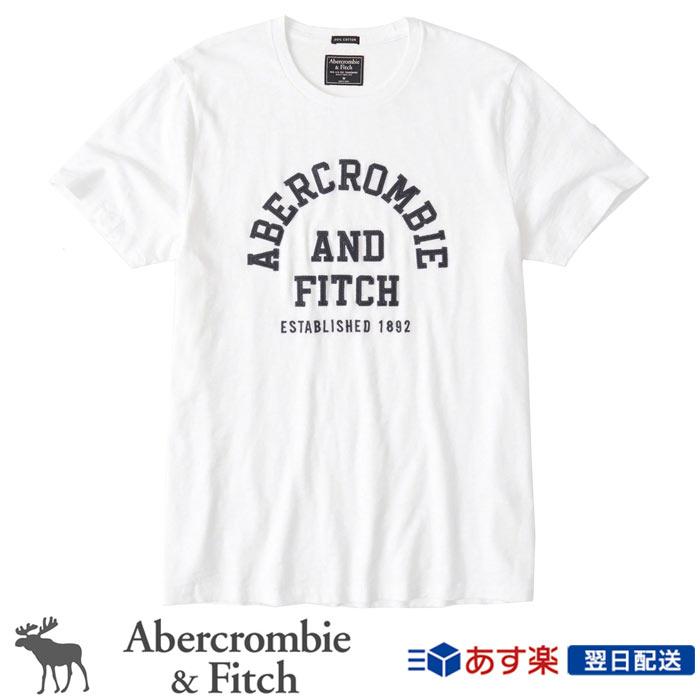 【新作!】アバクロンビー&フィッチ 正規品 アバクロ Abercrombie&Fitch メンズ Tシャツ:Applique Logo Tee - White│ホワイト