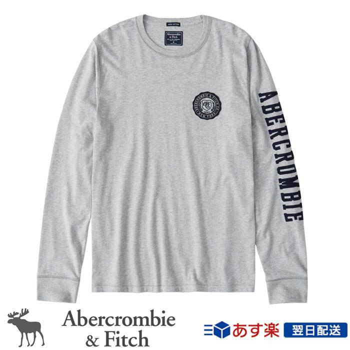 【新作!!】アバクロンビー&フィッチ 正規品 アバクロ Abercrombie&Fitch メンズ ロンT Tシャツ Long Sleeve Applique Tee - Heather Grey│グレー