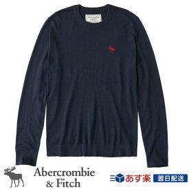 【新作!】アバクロンビー&フィッチ 正規 アバクロ Abercrombie&Fitch メンズ ビックアイコン クルーネックセーター:Exploded Icon Crew Sweater - Navy│ネイビー【US限定モデル】