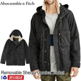 【2019年新入荷!】アバクロンビー&フィッチ 正規品 アバクロ Abercrombie&Fitch メンズ コート フード付き 中綿入り ミリタリージャケット アウター:Removable Sherpa Combat Jacket Black ブラック《送料無料》