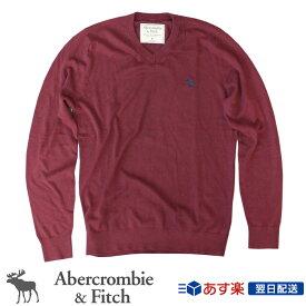 【2019FW新作!】アバクロンビー&フィッチ 正規品 アバクロ Abercrombie&Fitch メンズ Vネックセーター ニット:Icon V-Neck Sweater Burgundy バーガンディー【US限定モデル】